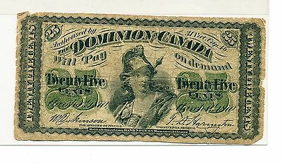 1870 Dominion Of Canada Fractional Issue 25 Cent Bank Note - Shinplaster