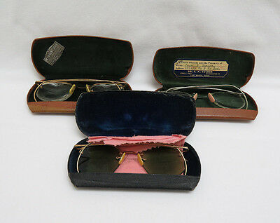 3 Vintage Wire Rim Eyeglasses with Cases