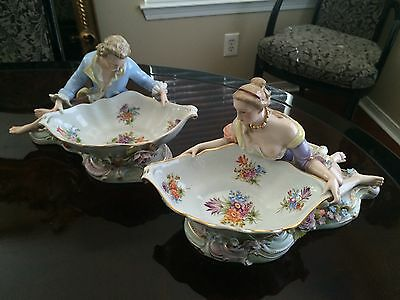 Gorgeous Antique Pair of Meissen Sweet Meat Bowls with Fine Detailed Figures 13""