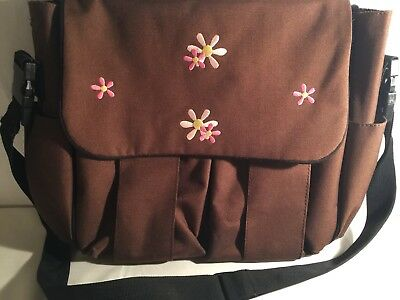 Precious Cargo Diaper Bag Brown with Pink Embroidered Flowers