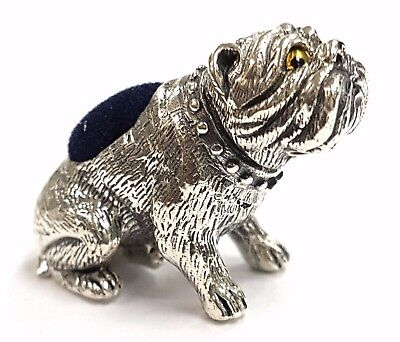 Antique Style Bulldog Pin Cushion With Glass Eye Sterling Silver 925 Hallmarked