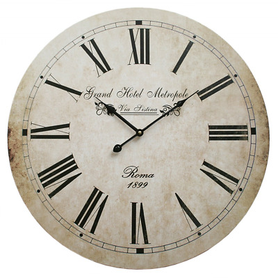 Large wall clock shabby chic vintage french style antique cream. 58cm