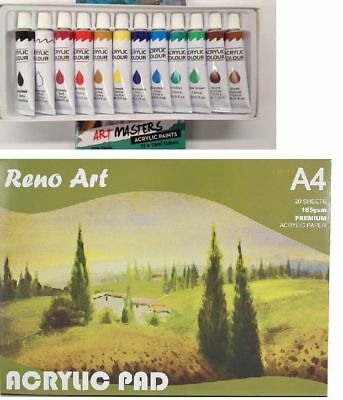 Reno Art Premium Acrylic Pad 185gsm A4 Paint Tubes Painting Drawing Set