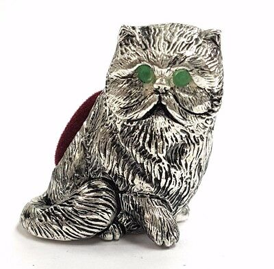 Antique Style Cat Pin Cushion With Emerald Eyes 925 Silver Plate