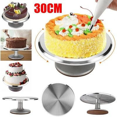 "12"" Aluminum ROTATING CAKE DEOCRATING REVOLVING KITCHEN DISPLAY STAND TURNTABLE"