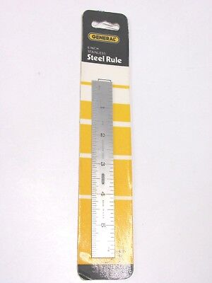 "NEW! GENERAL TOOLS 6"" RIGID CHROME STEEL RULE, 8th 16th 32nd 64th, #676"