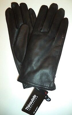 Ladies Genuine Leather Thinsulate Lined Gloves,Black ,XLarge
