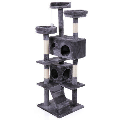 "60"" Cat Tree Tower Condo Furniture Scratching Post Pet Kitty Play House Grey"
