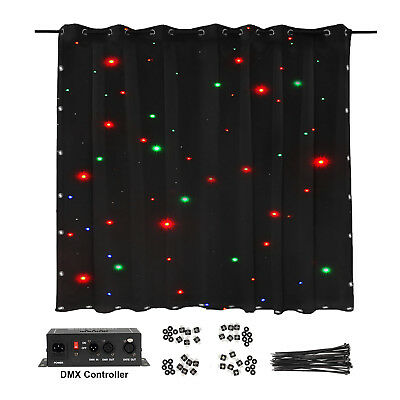 LED DMX Stage Curtain Backdrop Background Star Cloth 2x3m for Wedding Party Club