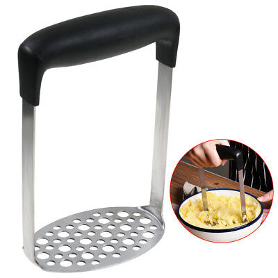 Stainless Steel Wide Grip Metal Potato Masher Vegetable Juicer Maker Crusher -AU
