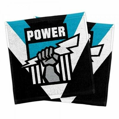 Port Adelaide Power Official AFL Face Washer Towels Pack 2 FREE POST