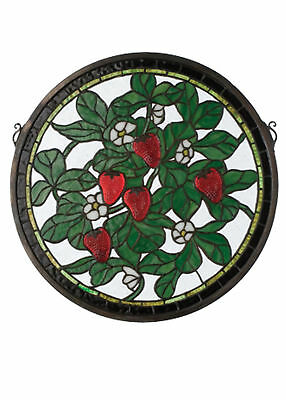 17 Inch W X 17 Inch H Strawberry Medallion Stained Glass Window