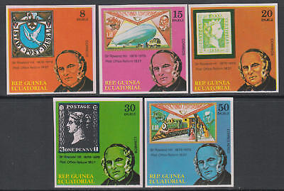 XG-L027 EQ. GUINEA - Stamp On Stamp, 1979 Rowland Hill Zeppelin Imperf. MNH Set