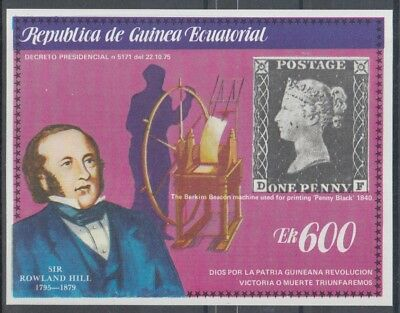 XG-K675 EQ. GUINEA - Rowland Hill, 1979 Stamp On Stamp Penny Black Imp MNH Sheet