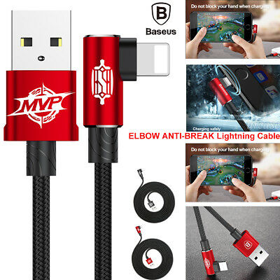 ELBOW Nylon Braided Lightning USB Data Syn Cable Charger f iPhone X 8 7 6 S Plus
