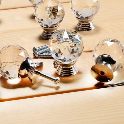 Crystal Door Knob Handles Clear Glass Cupboard Drawer Cabinet Kitchen AU STOCK