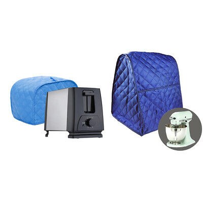 2-Slice Bread Toaster & Mixer Cover Protector Dust-Proof Clean Blue Grid