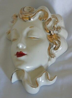 Vintage Art Deco pottery wall mask/wall pocket 22kt gold detail studio art
