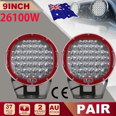 """New 9""""26100W LED Spot Driving Work Light Offroad RED Round lamp SUV Truck AU"""