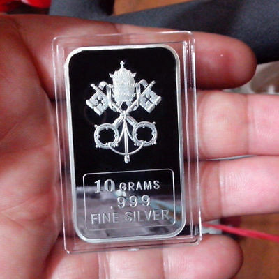 """10 Gram .999 Fine Solid Silver Bullion Art-Bar, POPES'- """"  PAPAL COAT OF ARMS  """""""