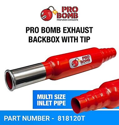 Pro Bomb Universal Exhaust Back Box In Cherry Red Color VW Golf 1234 Polo Lupo