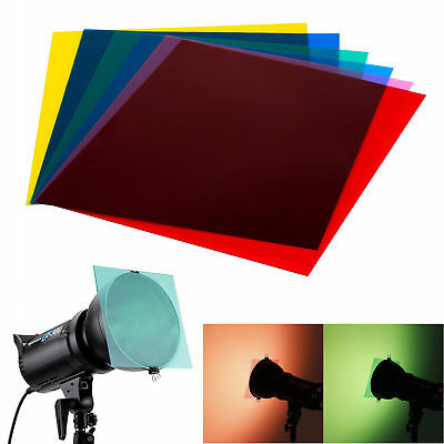 "Neewer 7""x8"" 6PCS Gel Sheets Transparent Color Gel Filter for Photo Flash Light"