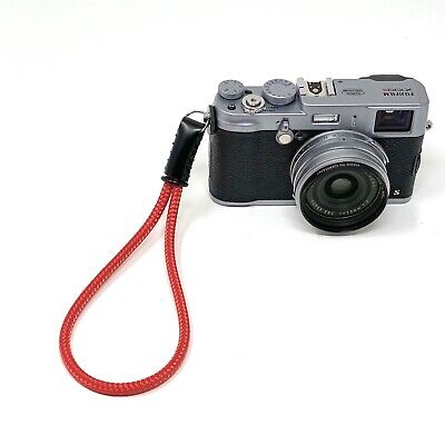 Silky Red Cord / Rope & Leather Camera Wrist Strap - Handmade by Cordweaver