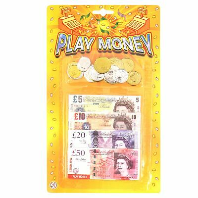 Play Fake Money Kids Child Role Pretend Cash Shops £ Notes Coins Sterling Maths