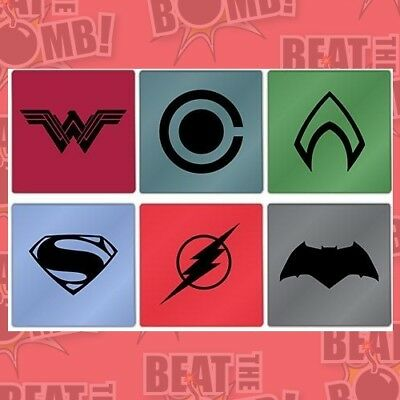 Justice League Movie Set Of 6 Glass Coasters  - BRAND NEW