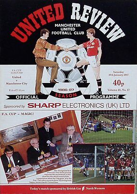 MANCHESTER UNITED v MANCHESTER CITY FA Cup 3rd Round 1986/87 WITH TOKEN