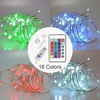 LED Fairy String Lights USB/AC Powered With Timer Remote Control Dimmable, 16ft