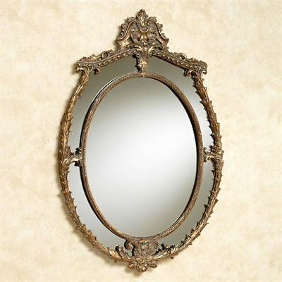 GOLD FRAMED MIRROR Ornate Antique Oval Wire Hanger - $229.00 | PicClick