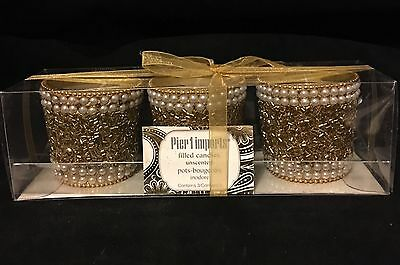 Gift Set 3 pack Filled Decorative Votive Beaded Candle Unscented NEW Pier 1 Imp