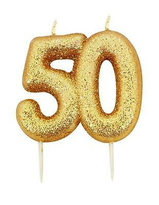 50th Gold Glitter Numeral Number Moulded Cake Candle - No 50
