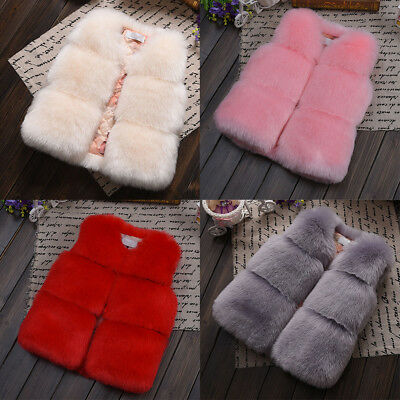 Toddler Kids Baby Girls Winter Faux Fur Vest Coat Warm Jacket Waistcoat Outwear
