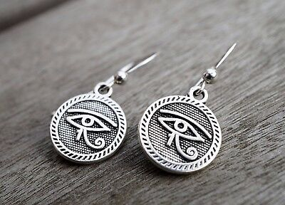 Antique Silver Eye of Horus* Eye of Ra Earrings * Sterling Silver Ear Hook *