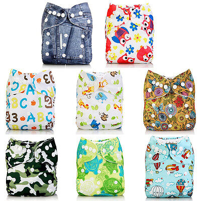 Baby Boy Girl Alva Baby Washable Reusable Cloth Diapers Nappies Pocket in Bunch