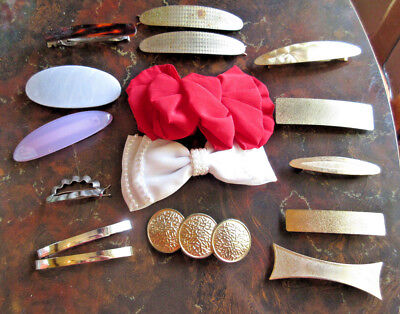 Lot of 15 Vintage 80's Hair Clips Barrettes Bows Goldtone Goody Phillips MORE