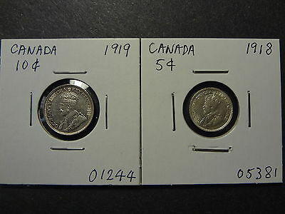 Canada 1918 5 Cents +1919 10 Cents Combo,1918 Ms 62, 1919 Au 55 To 58 !