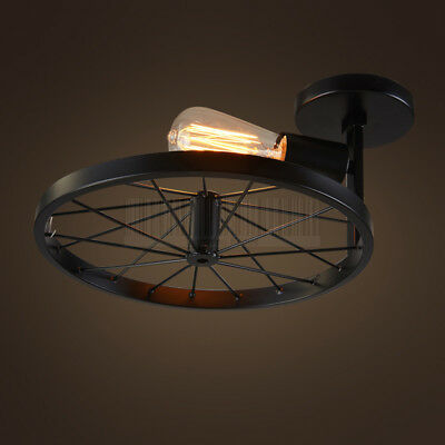 Country Style Industrial Semi Flush Mount Ceiling Light Vintage Iron Wheel Lamp