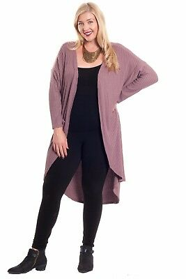 Hot Ginger Women's Plus Size Long Sleeve Ribbed Open Front Cardigan