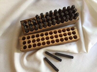 VTG Metal DIE PUNCH SET Iron Alphabet & Numbers Wooden Box 36 Stamps Tools