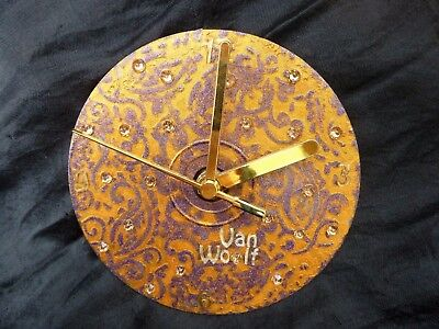 Hand Painted Unique Wall Clock - Antique Gold - by Van Woolf™