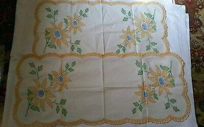 Vintage Table Linens Runners Set of 2 - Floral Design - Yellow Crochet