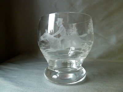 Antique Webb Etched Hunting Tumbler Glass, Signed Webb in the Etching