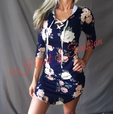Navy Floral Print Corset Lace Up Detail 3/4 Sleeve Hoodie Shirt Dress Bodycon