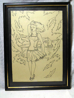 Antique Pin-up Girl Drawing by An Unknown Artist