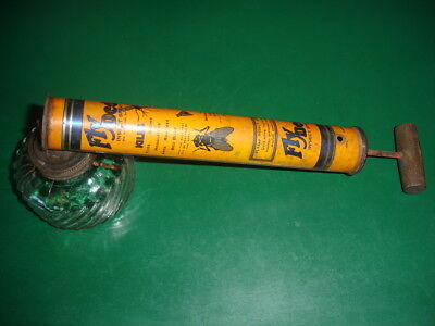 Vintage Tin & Glass Fly Ded Insect Bug Household Garden Sprayer