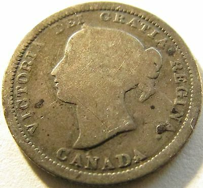 1870 Flat Rim Canada Silver 5 Cents - KM# 2 - Free Shipping