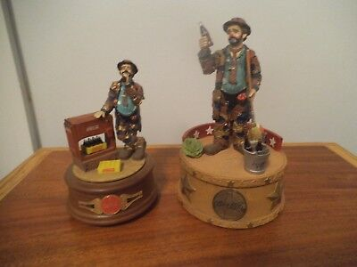 Emmett Kelly Limited Edition Coca Cola Musical Figurines - Large & Small